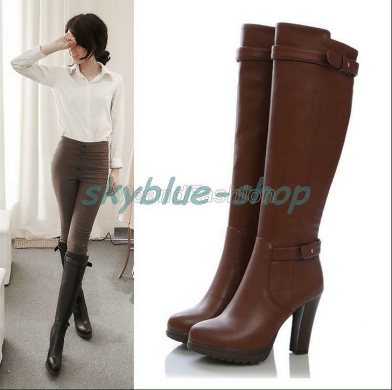 Ladies Leather Side Zip Platform Block Slim Leg High Heel ...