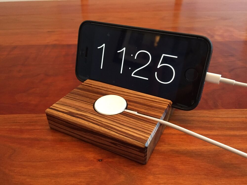 apple watch and iphone docking station dock zebrawood wood handmade ebay. Black Bedroom Furniture Sets. Home Design Ideas