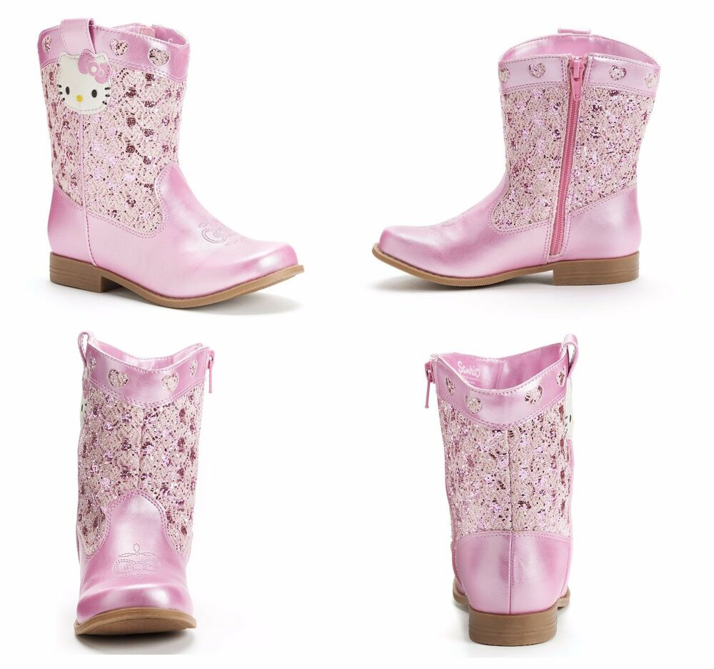 New Hello Kitty Cowboy Boots Toddler Girls 9 13 Ebay