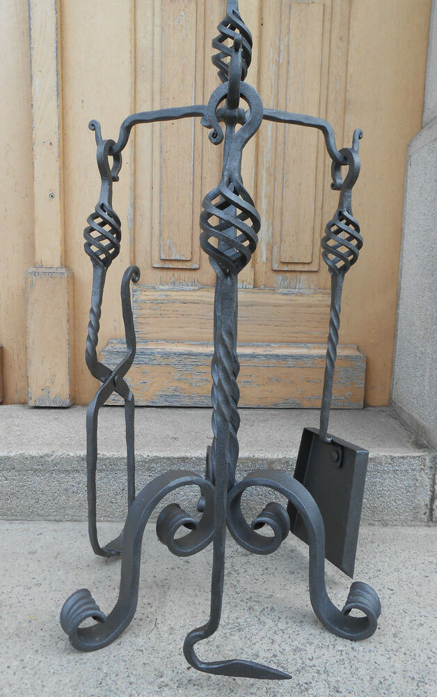 Hand Forged Fireplace Tools Set 4 Pieces Wrought Iron Stove Set 68cm High 27inch Ebay
