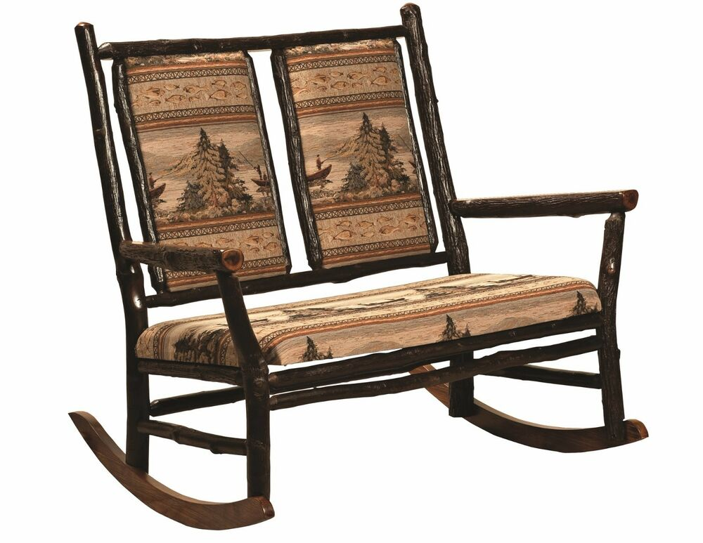 Amish Hickory Log Grandpa Double Rocker Rocking Chair