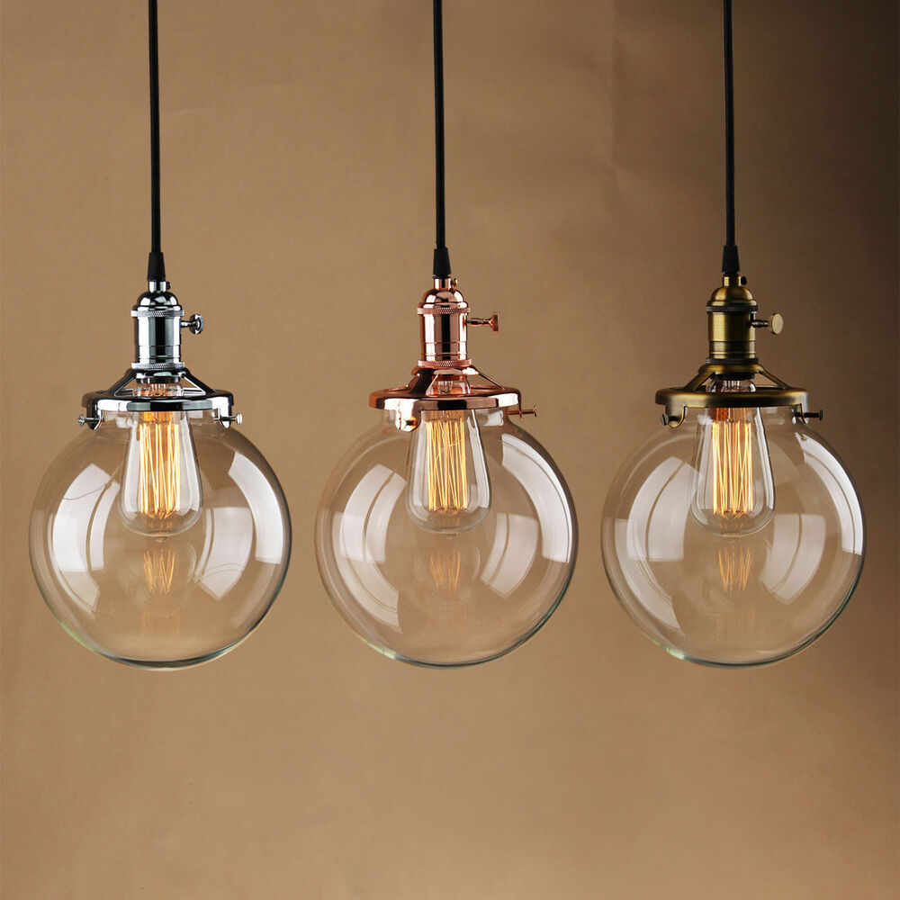 Vintage industrial pendant light glass globe shade ceiling for Industrial bulb pendant