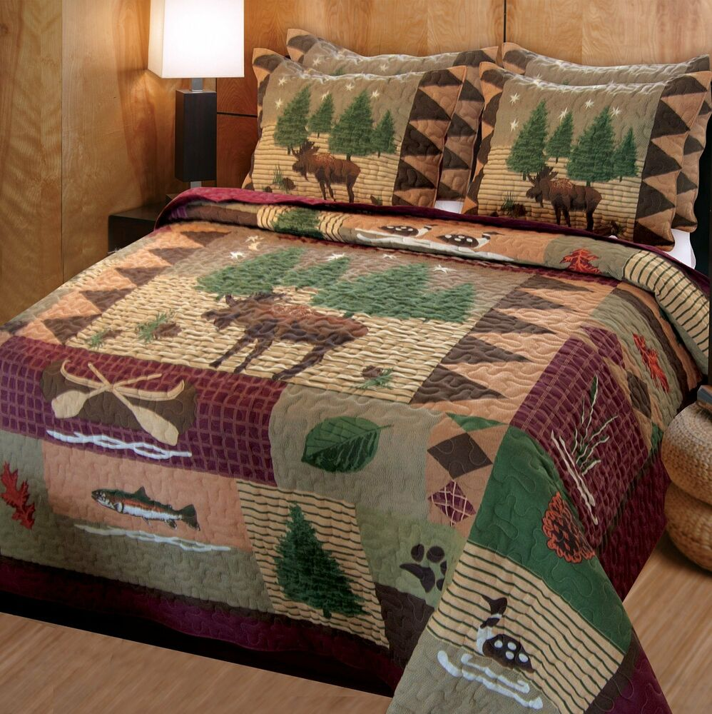 new moose lodge quilt set full queen home room decor shams