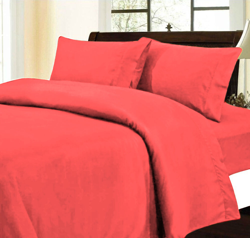 queen red 500tc 4pc 100 cotton bed sheet set flat and fitted sheets ebay. Black Bedroom Furniture Sets. Home Design Ideas