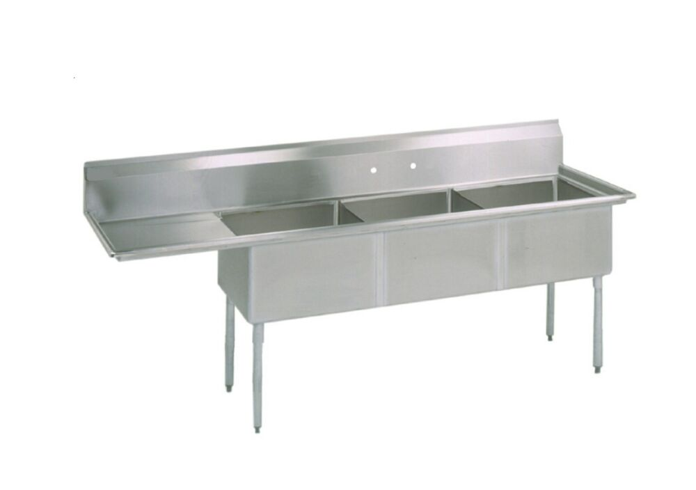 Commercial Sinks On Ebay : ... Three Compartment Commercial Stainless Steel Sink 74.5 x 29.5 G eBay