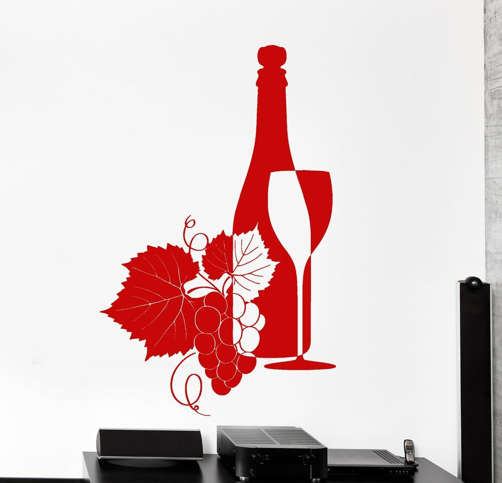 Wall Vinyl Decal Wine Grape Vine Bar Cool Decor Z3853 Ebay