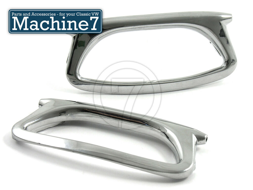 Classic vw beetle door pulls interior retro style with sprung hinge chrome pair ebay for Vw beetle interior door pull handle
