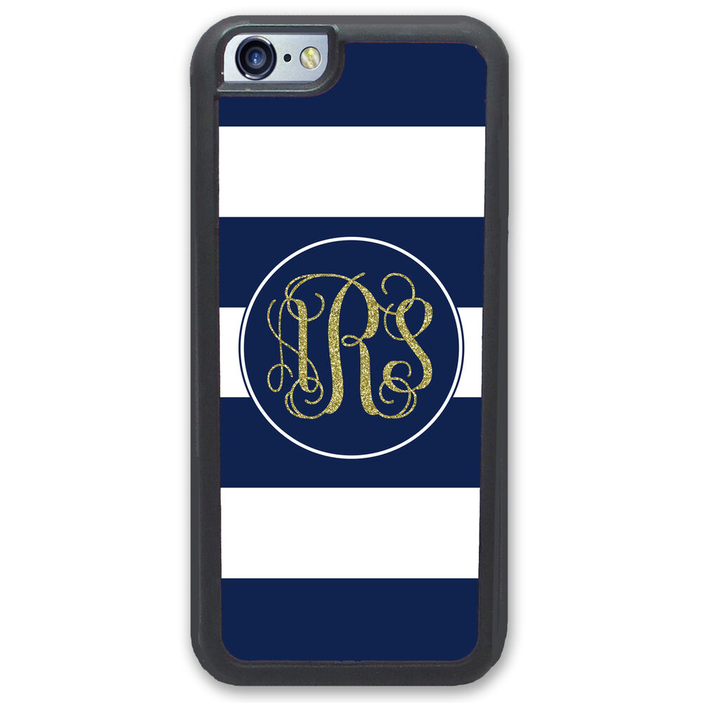 stripes monogrammed gold glitter case for iphone 6 6s