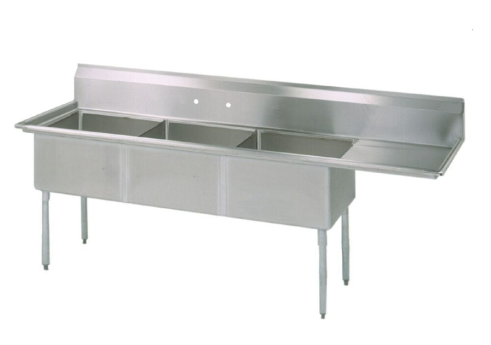 Commercial Sink 3 Compartment : Three Compartment Commercial Stainless Steel Sink 74.5 x 23.5 G ...