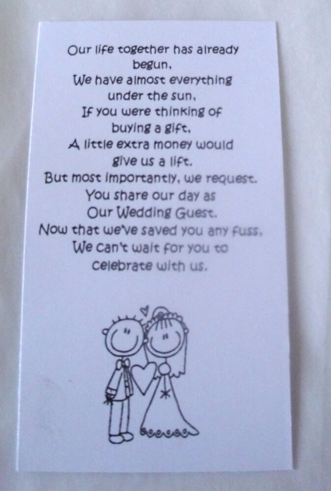 Wedding Gift Poems Asking For Money Towards Honeymoon : 50 Small Wedding Gift Poem Cards asking for Money Bride & Groom 1 ...