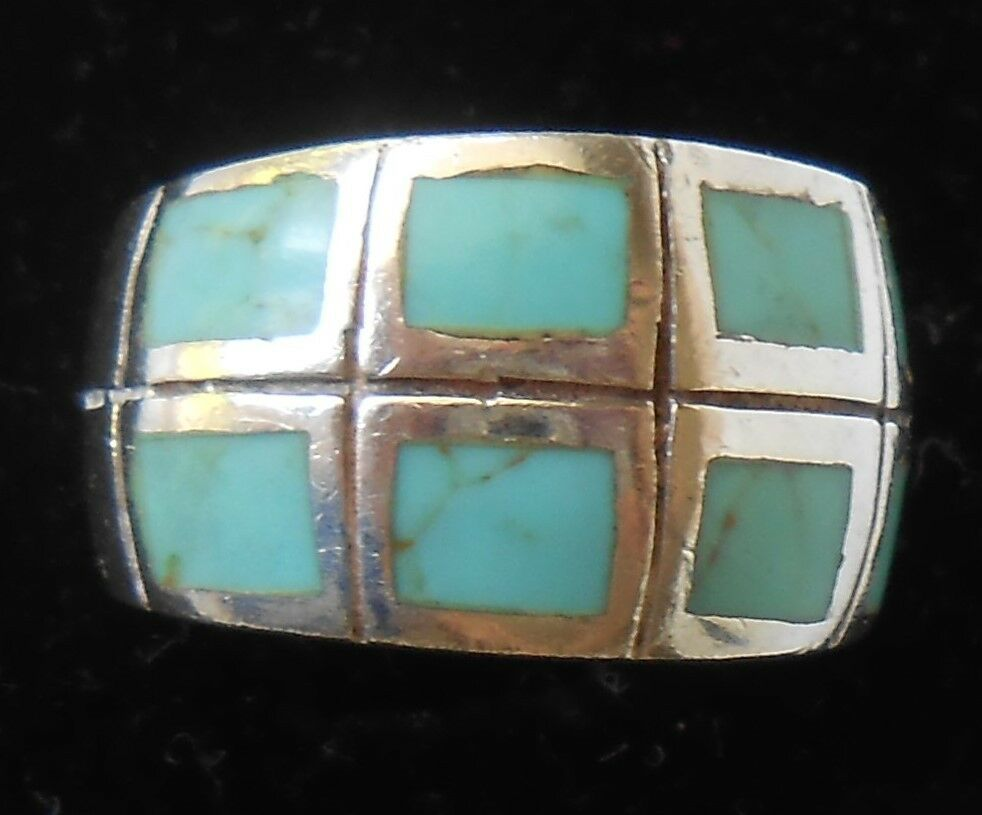 Vintage Southwest Sterling Silver With Turquoise Inlay Ring Ebay