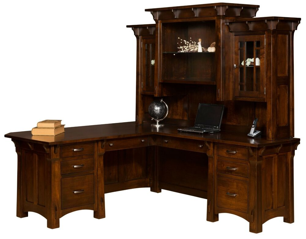 amish mission corner computer desk hutch home office solid wood furniture ebay. Black Bedroom Furniture Sets. Home Design Ideas