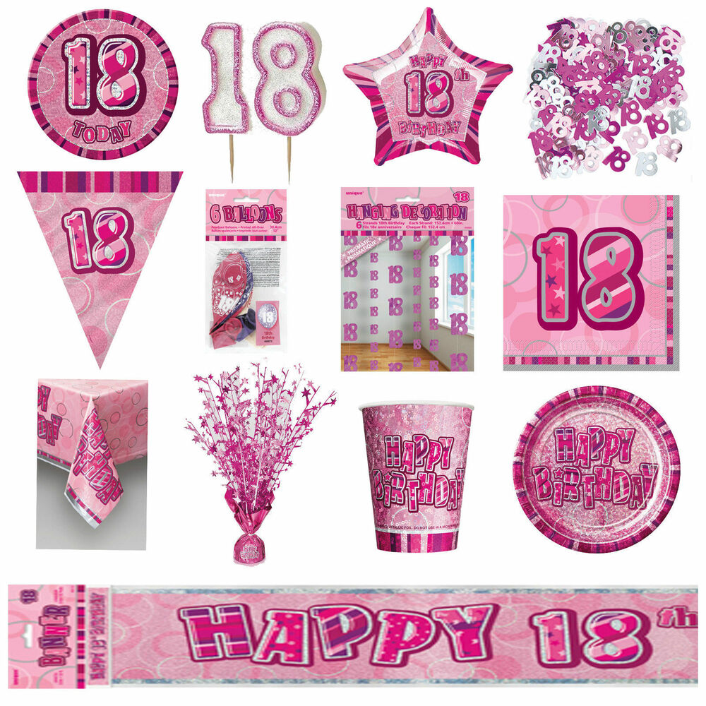 Glitz Pink 18th Birthday Party Tableware Decoration Plates