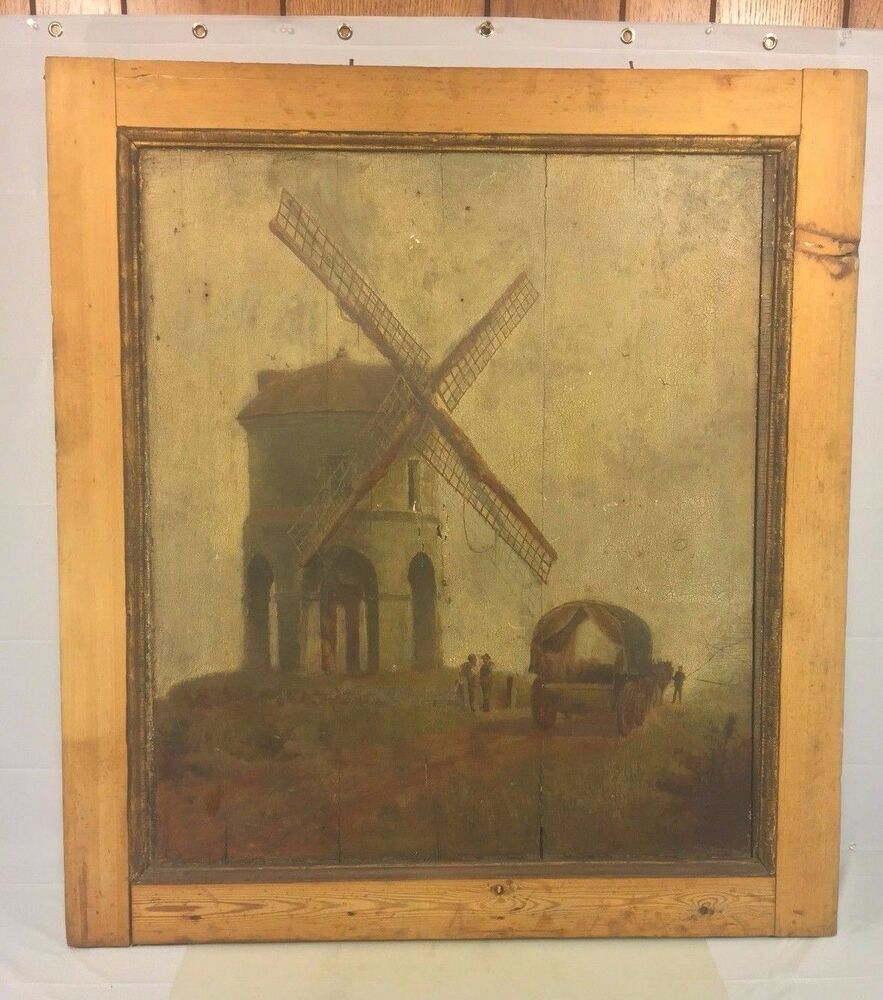 Antique Oil Paintings On Wood Panels