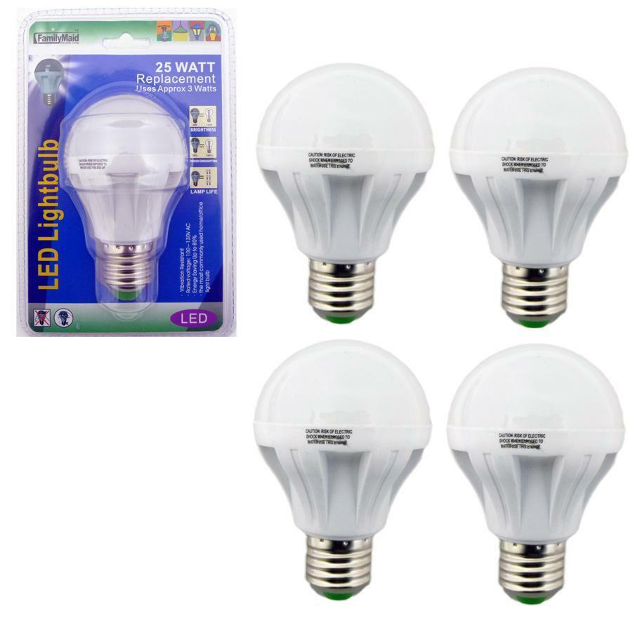 4 pack 3 watt led 110v light bulbs 25 watt replacement energy saving 80 bulb ebay. Black Bedroom Furniture Sets. Home Design Ideas