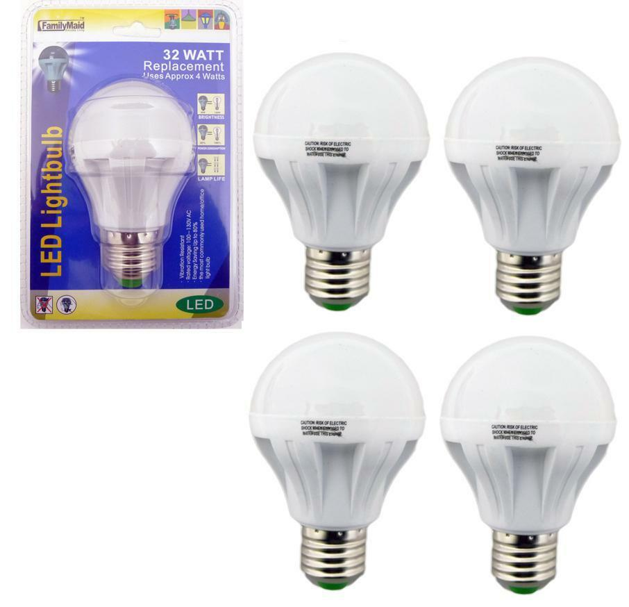 4 Pack 4 Watt Led 110v Light Bulbs 32 Watt Replacement Energy Saving 80 Bulb Ebay