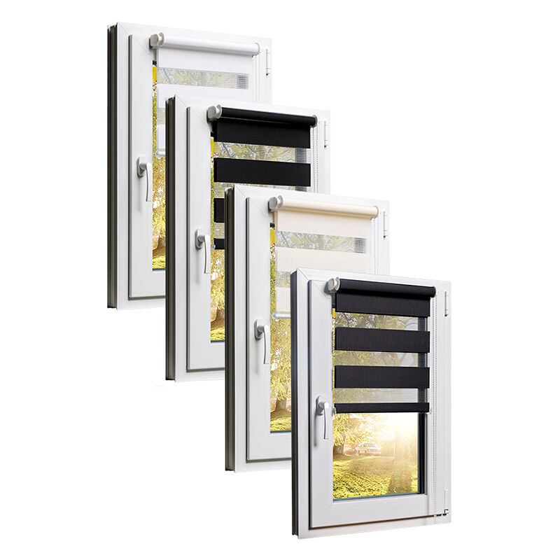 fenster rollos klemmfix verdunkelungsrollo jalousie doppel rollo sonnenschutz ebay. Black Bedroom Furniture Sets. Home Design Ideas