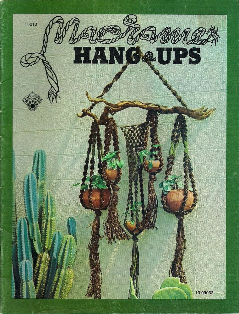 macrame plant hanger pattern books book only h 213 macrame hang ups vintage plant hanger 1975