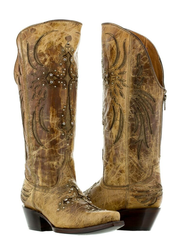 Womens Sand Cross Distressed Leather Cowgirl Boots Zipper ...