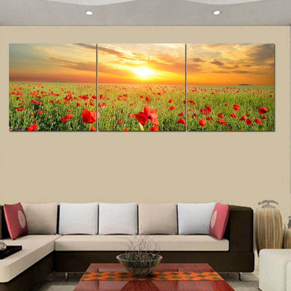 Unframed Hd Canvas Prints Home Decor Wall Art Picture Poster Poppy Flowers Ebay