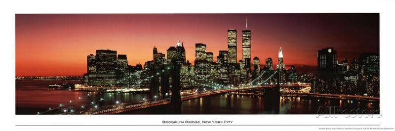 brooklyn bridge new york city skyline panorama art poster print poster 36x12 ebay. Black Bedroom Furniture Sets. Home Design Ideas
