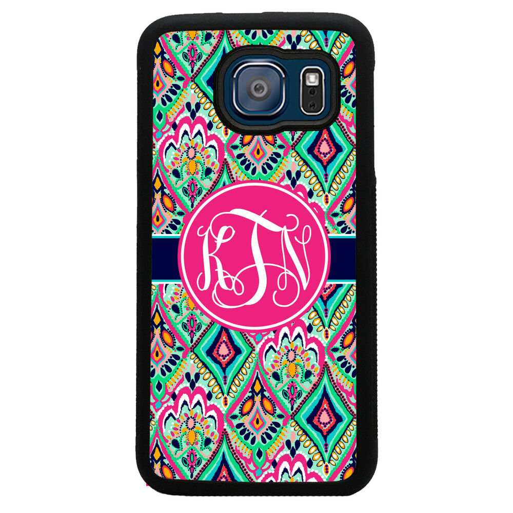 monogrammed case for samsung galaxy s6 case pretty floral jewels monogram