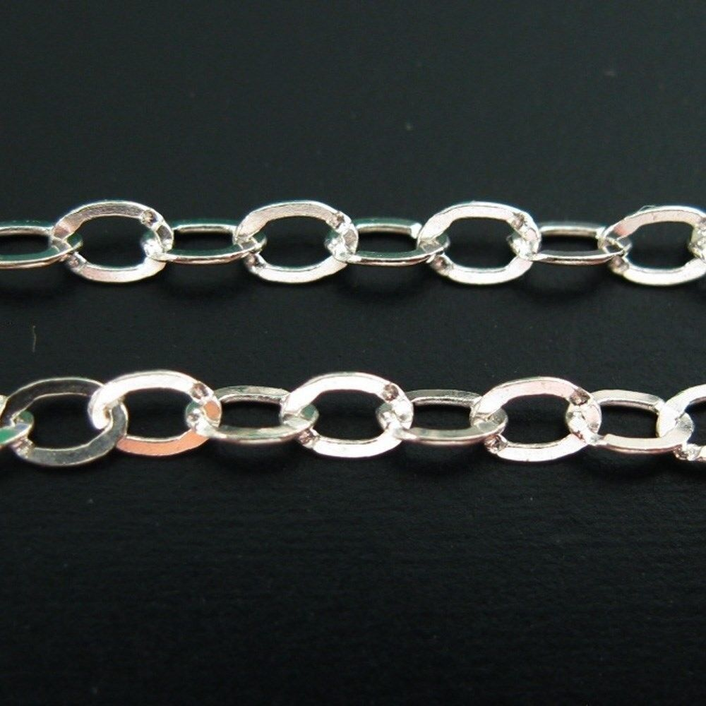 Sterling Silver Bulk Chain Unfinished Bulk Flat Cable Oval