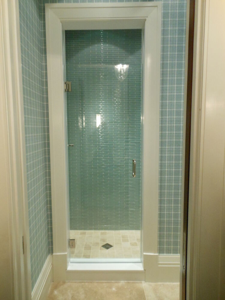 frameless shower door 24 x 72 or 76 3 8 glass hardware combo ebay. Black Bedroom Furniture Sets. Home Design Ideas