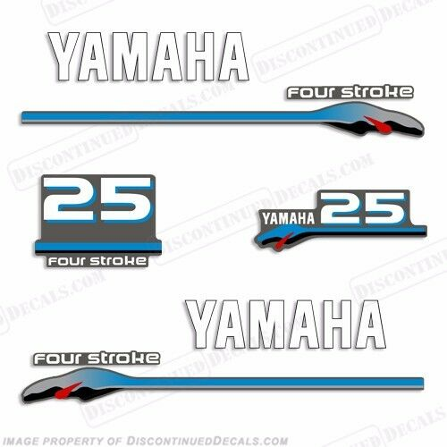 Yamaha 25hp fourstroke outboard motor decal kit 4 stroke for Yamaha replacement decals