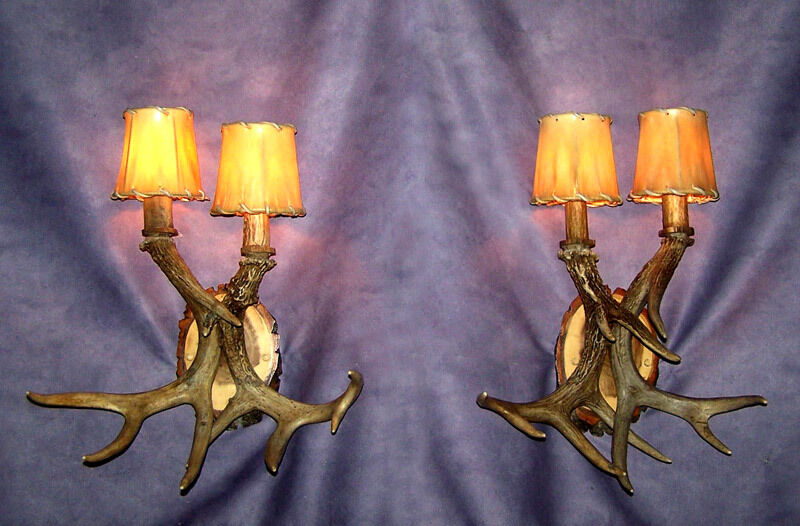 REAL ANTLER 2 LIGHT WALL SCONCE, WHITETAIL ANTLERS, CHANDELIER LAMPS eBay