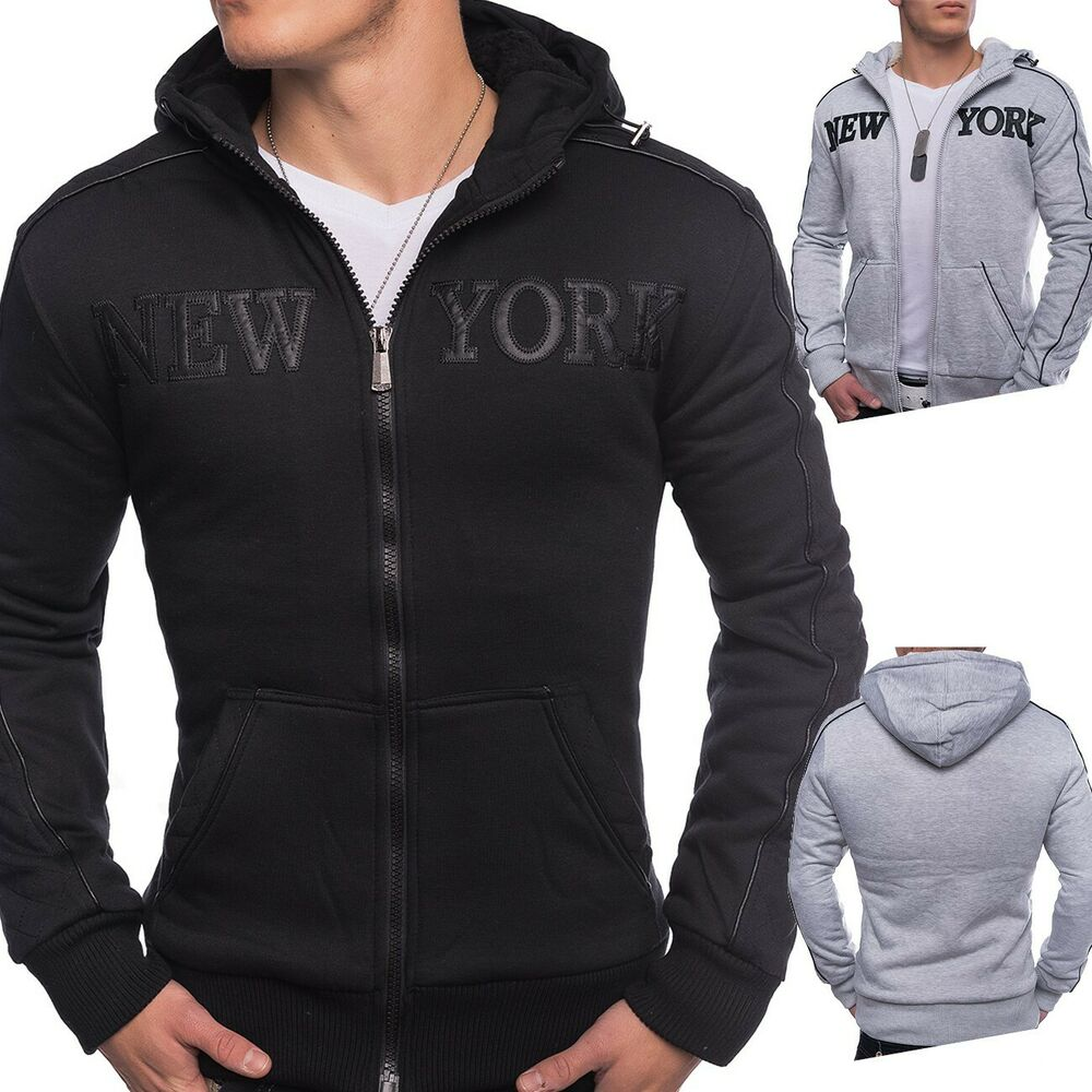 herren zip hoodie sweatjacke warm gef ttert mit kapuze. Black Bedroom Furniture Sets. Home Design Ideas