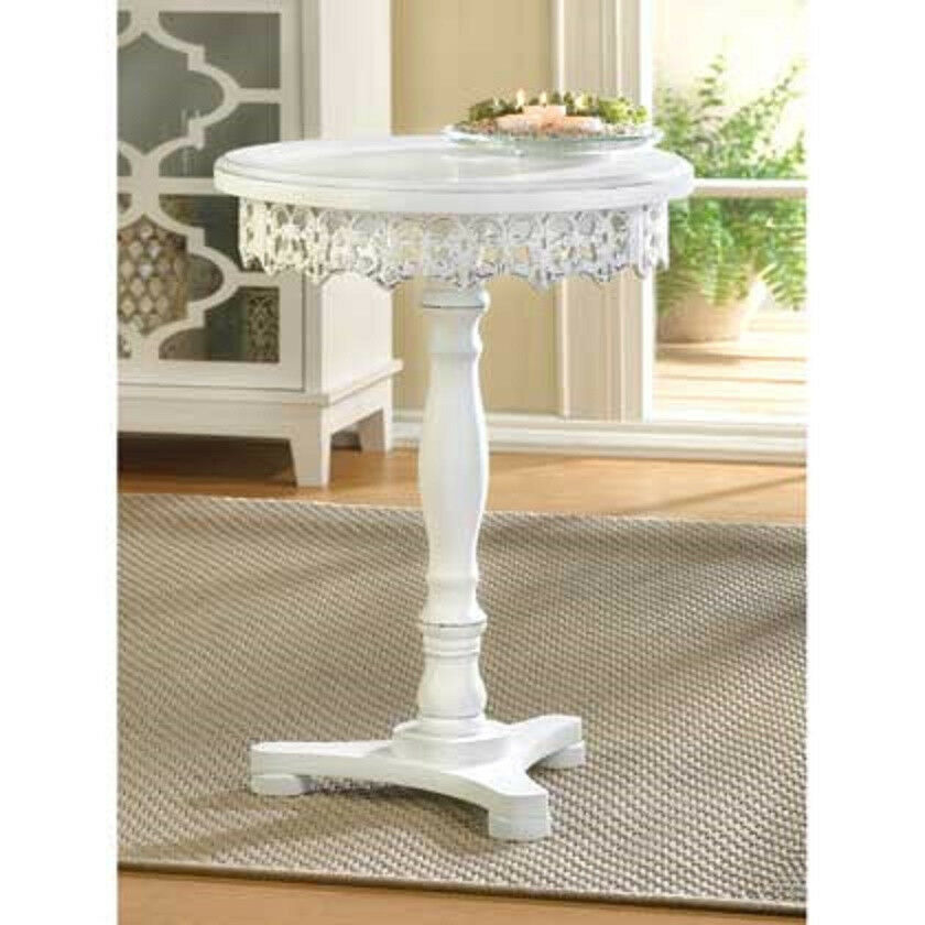 Small Round White Wood Chic Distressed Shabby Pedestal
