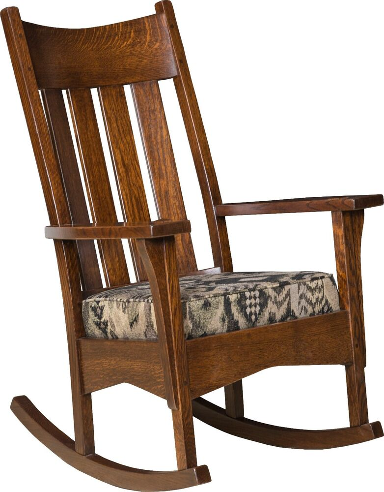 amish mission craftsman slat back solid wood rocking chair rocker upholstered ebay. Black Bedroom Furniture Sets. Home Design Ideas