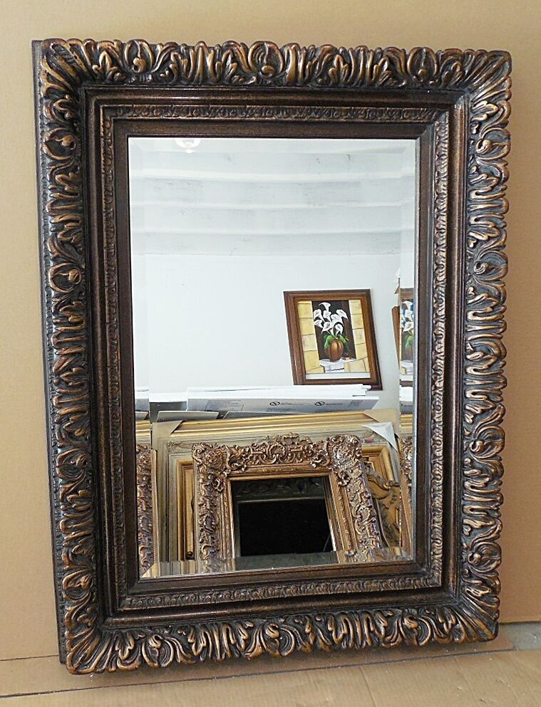 Large solid wood 35x54 rectangle beveled framed wall for Large wall mirror wood frame