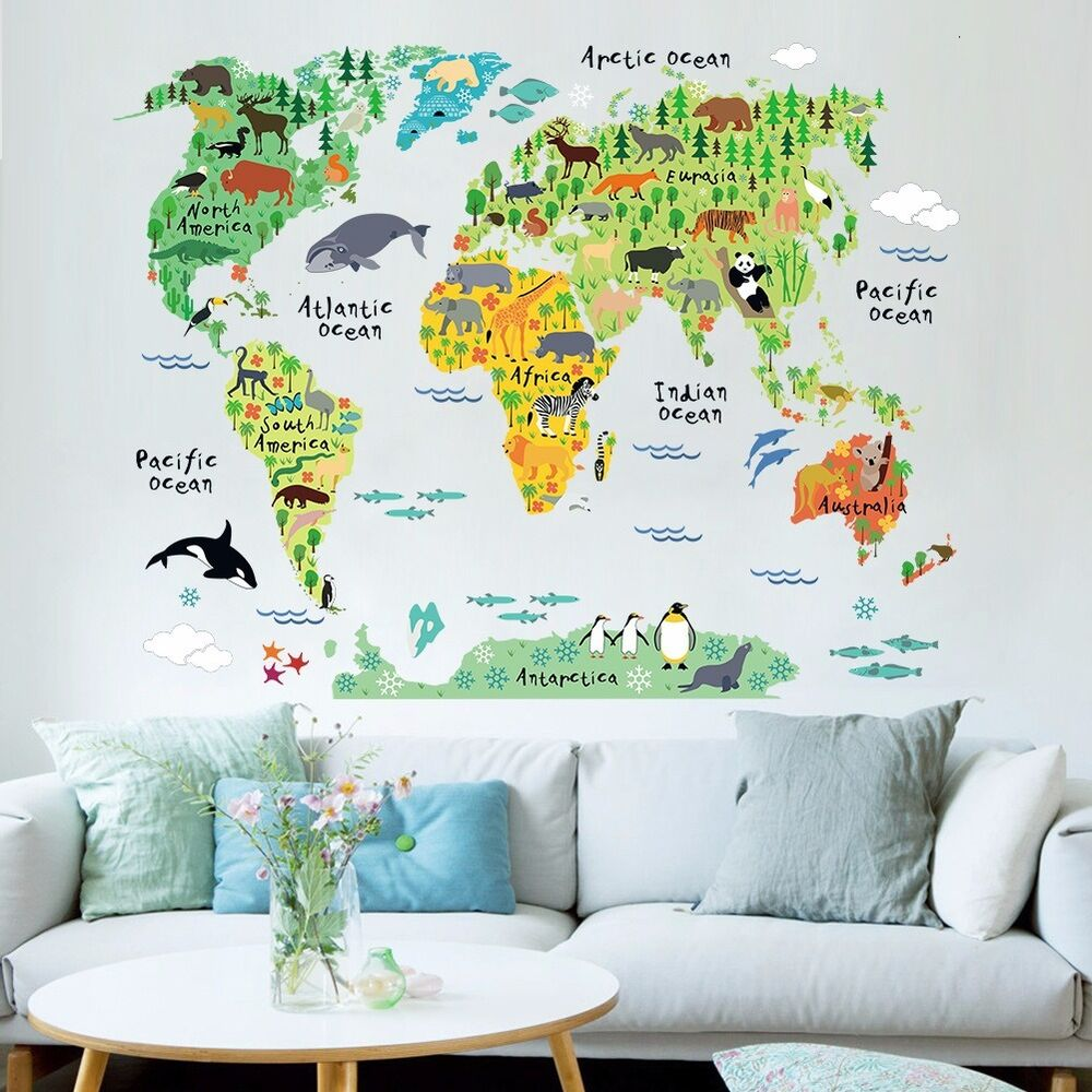 Animal world map vinyl mural wall sticker decals kids for Children room mural