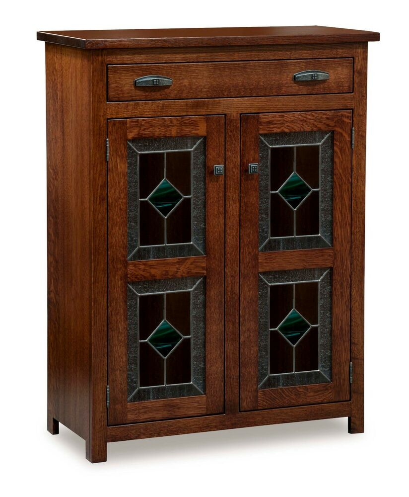 Amish Leaded Glass 2 Door Pie Safe Kitchen Pantry Cupboard