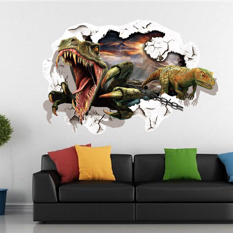 wandtattoo wandbild kinderzimmer dinosaurier wandsticker 3d neu 32 ebay. Black Bedroom Furniture Sets. Home Design Ideas
