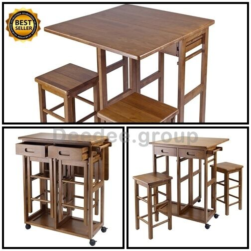 Table stool cart drop leaf island kitchen bar breakfast for Kitchen table with stools