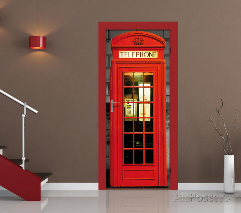 British phone box door wallpaper mural sticker 37x82 ebay for Door mural stickers