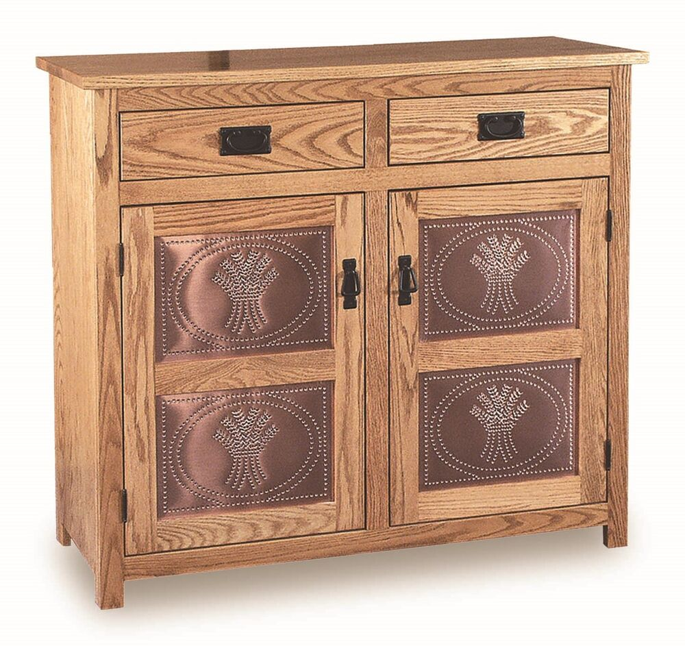 Amish Pie Safe Wheat Tin Door Panels Kitchen Pantry