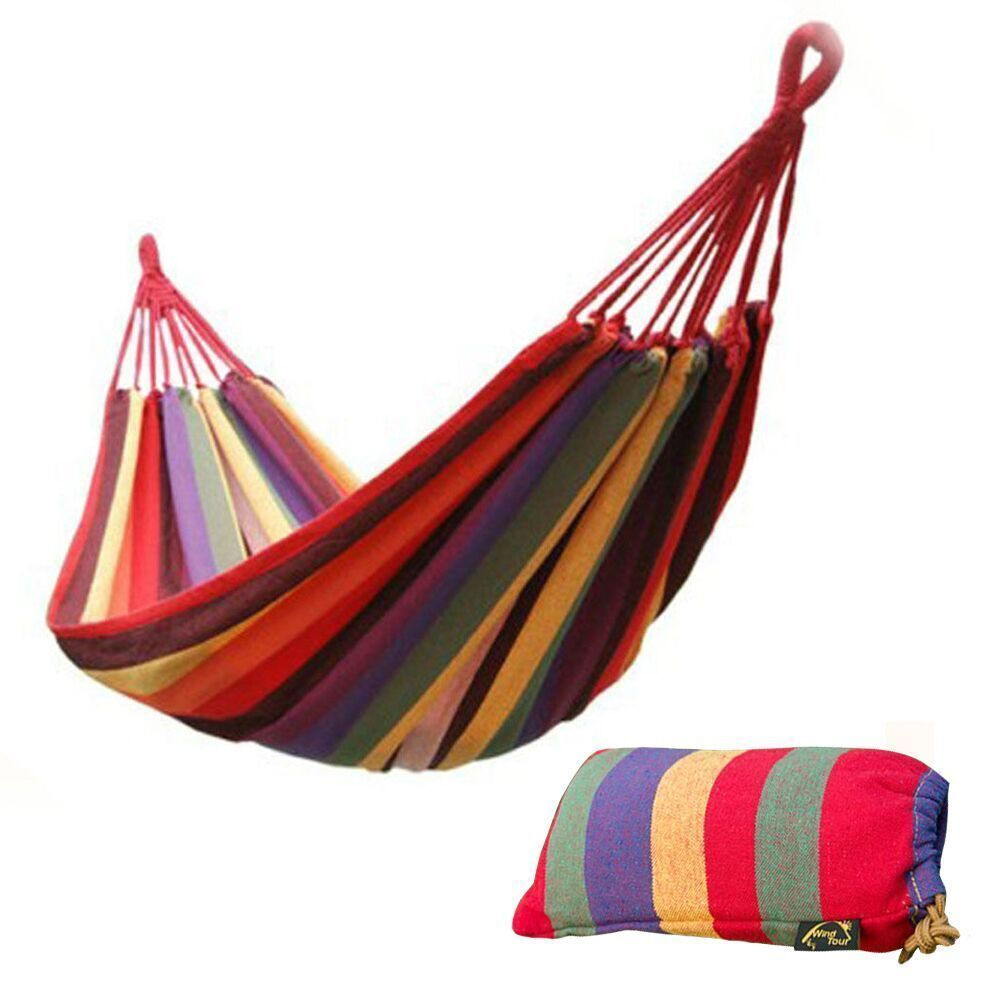 Portable cotton rope outdoor swing fabric camping hanging for Fabric hammock chair swing