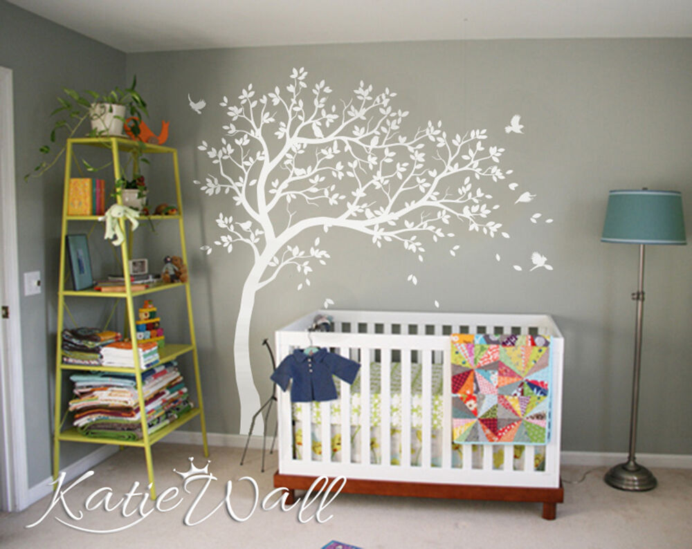 Unisex customizable nursery wall tree decals unisex baby for Baby room decoration wall stickers