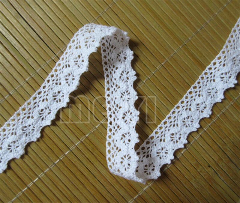 5m vintage white cotton crochet lace trim wedding bridal for Craft ribbons and trims