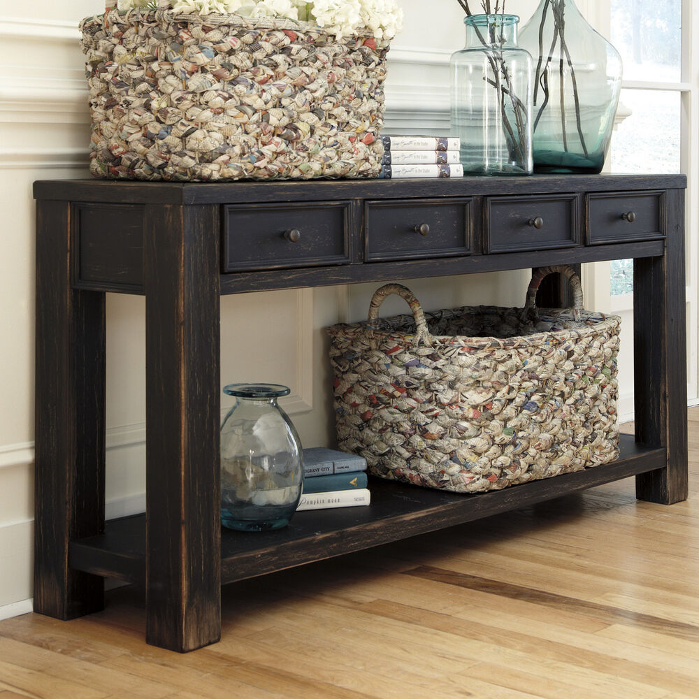 Sofa Table Ideas: Rustic Baltwood Console Table Distressed Black Country
