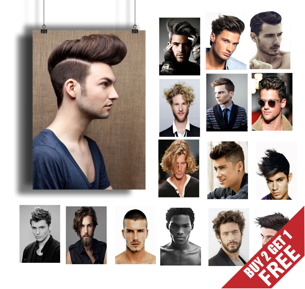 BEST MEN HAIR SALON POSTER COLLECTION A3 / A4* 2015 Men Hairstyle ...