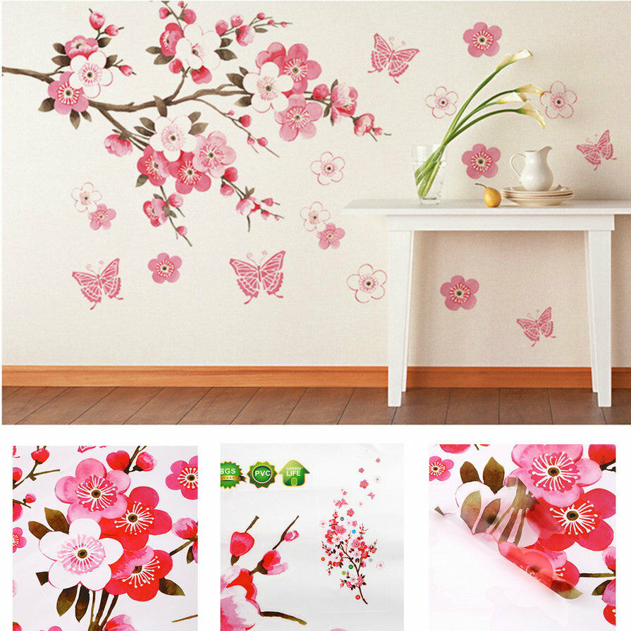 Removable flower peach butterfly wall stickers pvc wall for Butterfly wall mural stickers