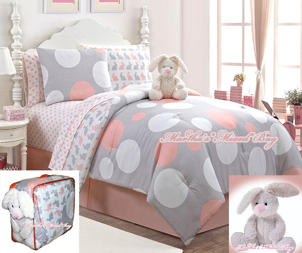 Girls Bunny Rabbits Amp Polka Dots Gray Comforter Set W