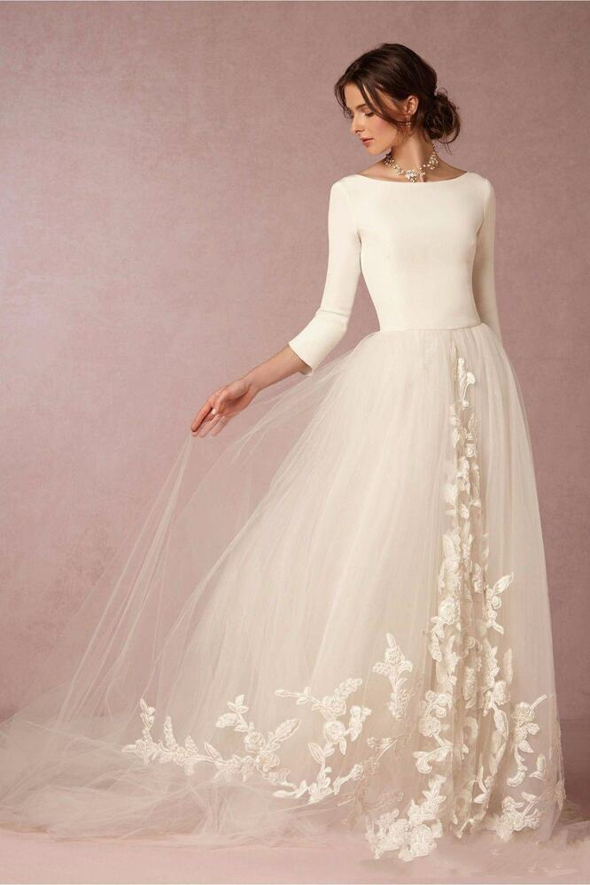 3 4 Sleeves White Ivory Tulle Appliques Wedding Dress