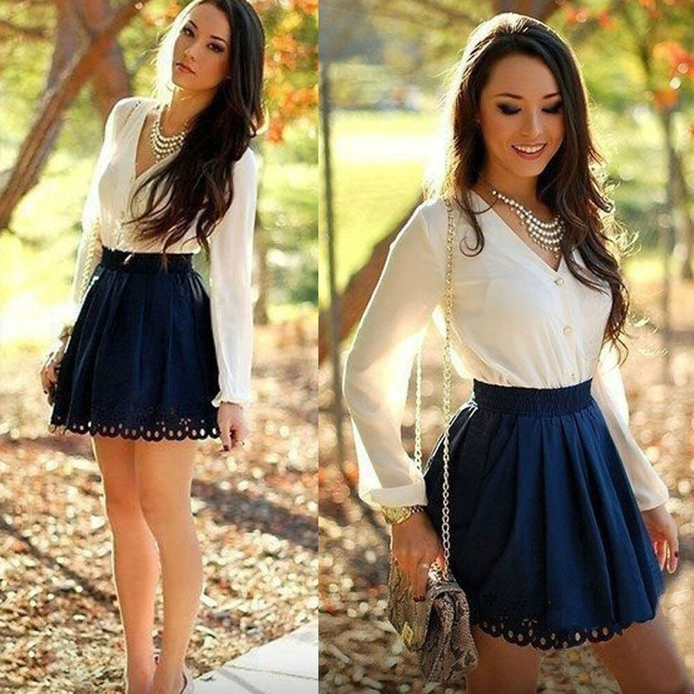 Sexy Womens Casual Long Sleeve Evening Party Cocktail Chiffon Short Mini Dress | eBay