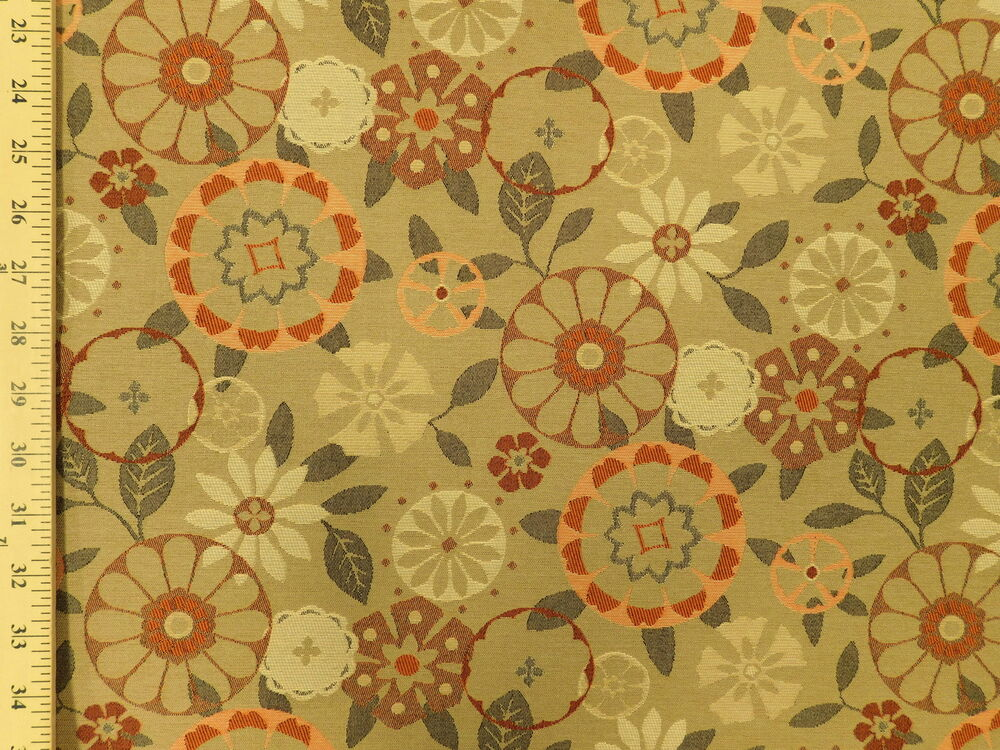 Momentum trove carex mid century modern retro floral tan for Floral upholstery fabric